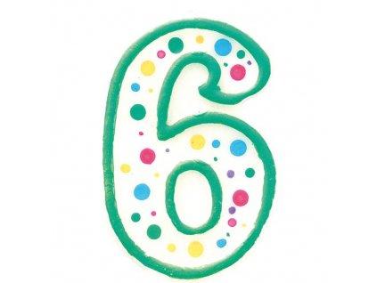 Zeleno-bílá narozeninová svíčka číslice 6