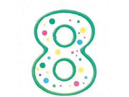 Zeleno-bílá narozeninová svíčka číslice 8
