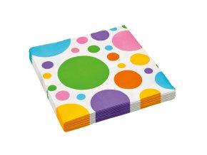 Puntíkované ubrousky - barevné 20 ks