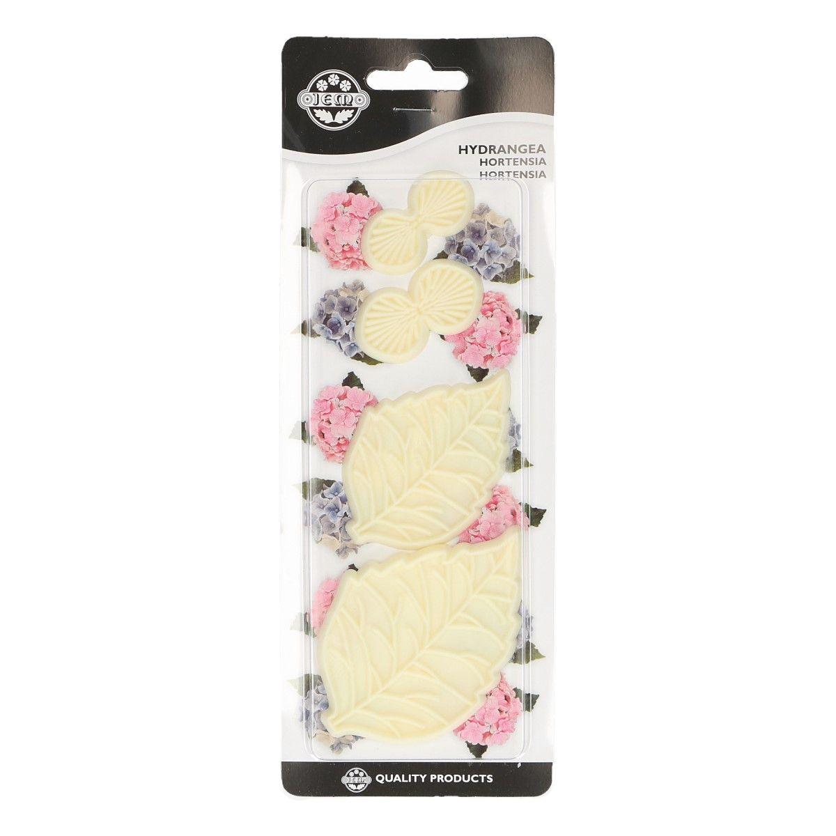CakeSupplies Sada vypichovaču ve tvaru květu Hortenzie 4 ks
