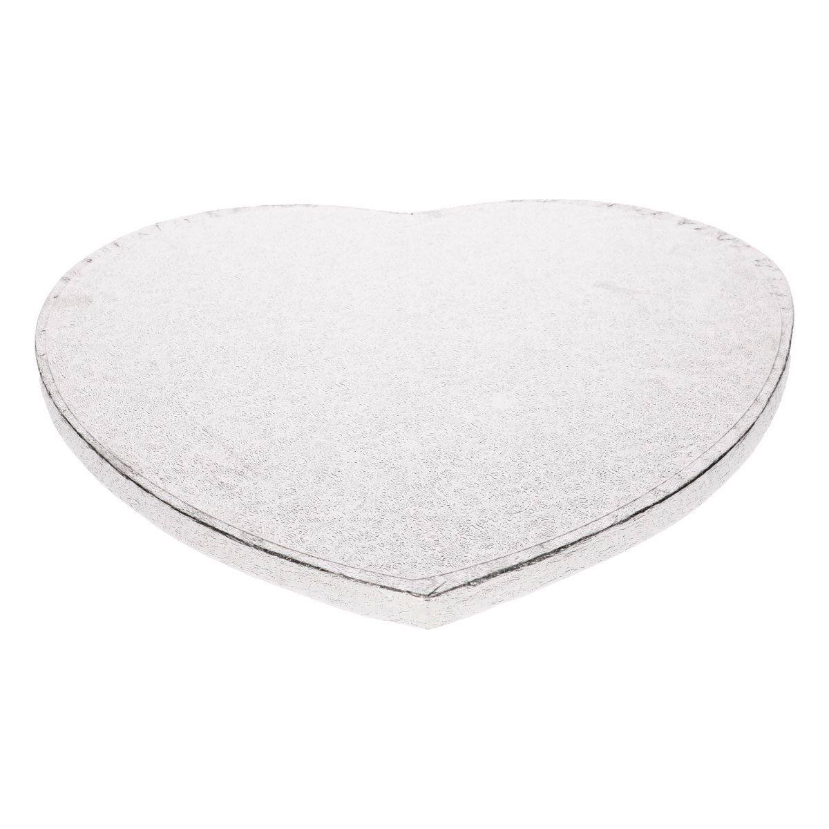 Funcakes Dortová podložka stříbrná srdce 27,5 cm, tloušťka 12 mm