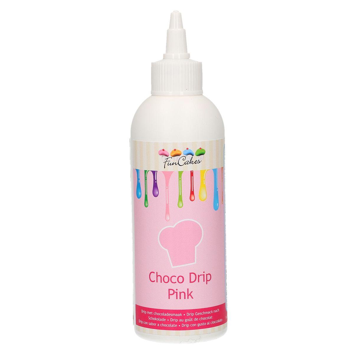 Funcakes Choco drip Pink - Čokoládová poleva v tubě růžová 180g