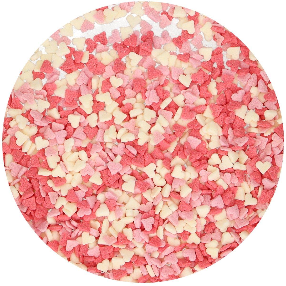 Funcakes Cukrářské zdobení Mini srdíčka bílé růžové červené 60 g