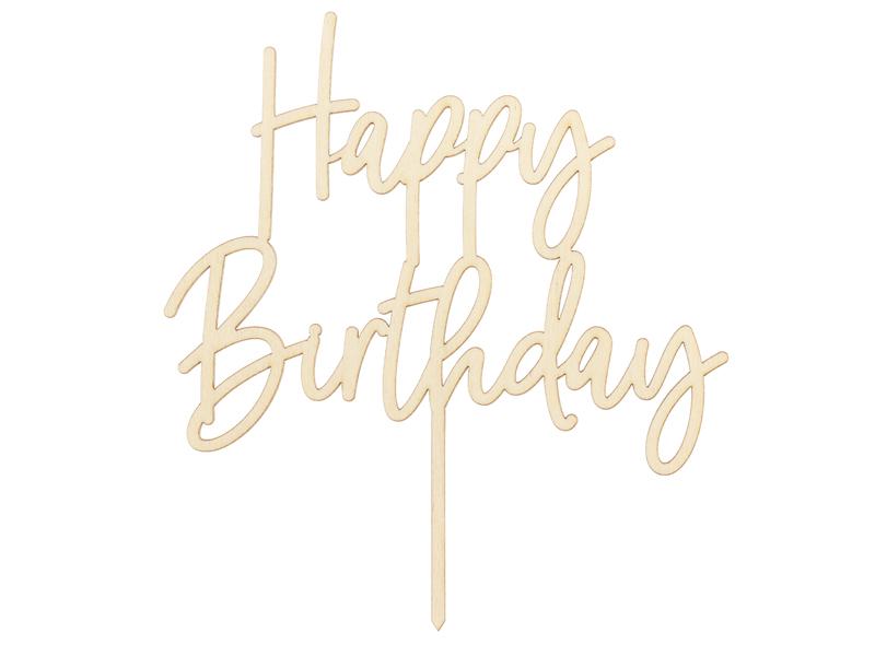 PartyDeco Dřevěný zápich na dort - Happy Birthday 16,5 cm