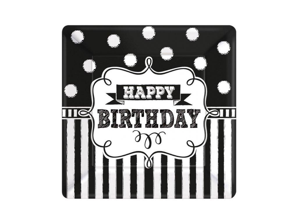 Tányérok - fekete-fehér születésnap 8 db