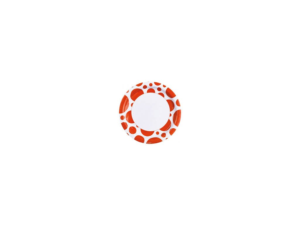 Tányérok - narancssárga pöttyös 8 db
