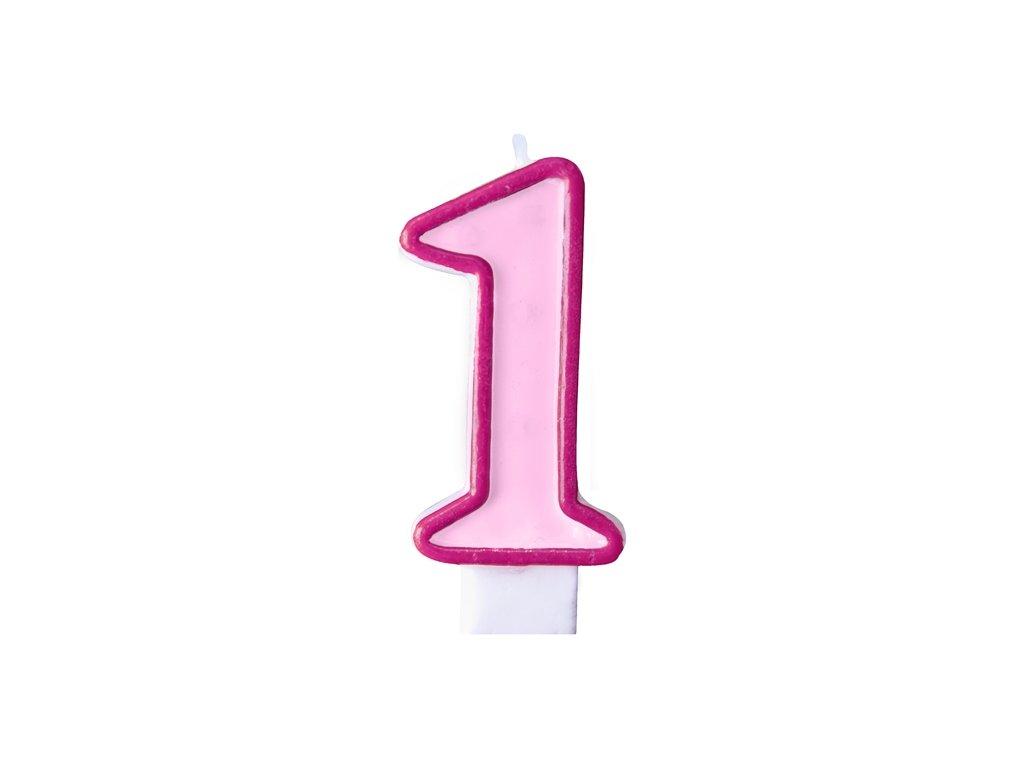 Születésnapi szám gyertya 1 - rózsaszín