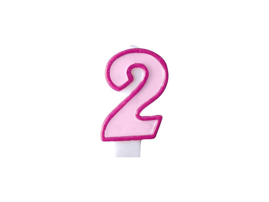 Születésnapi szám gyertya 2 - rózsaszín
