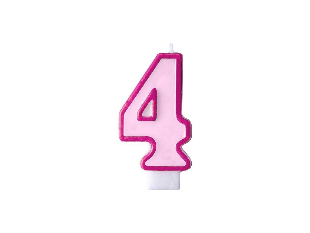 Születésnapi szám gyertya 4 - rózsaszín