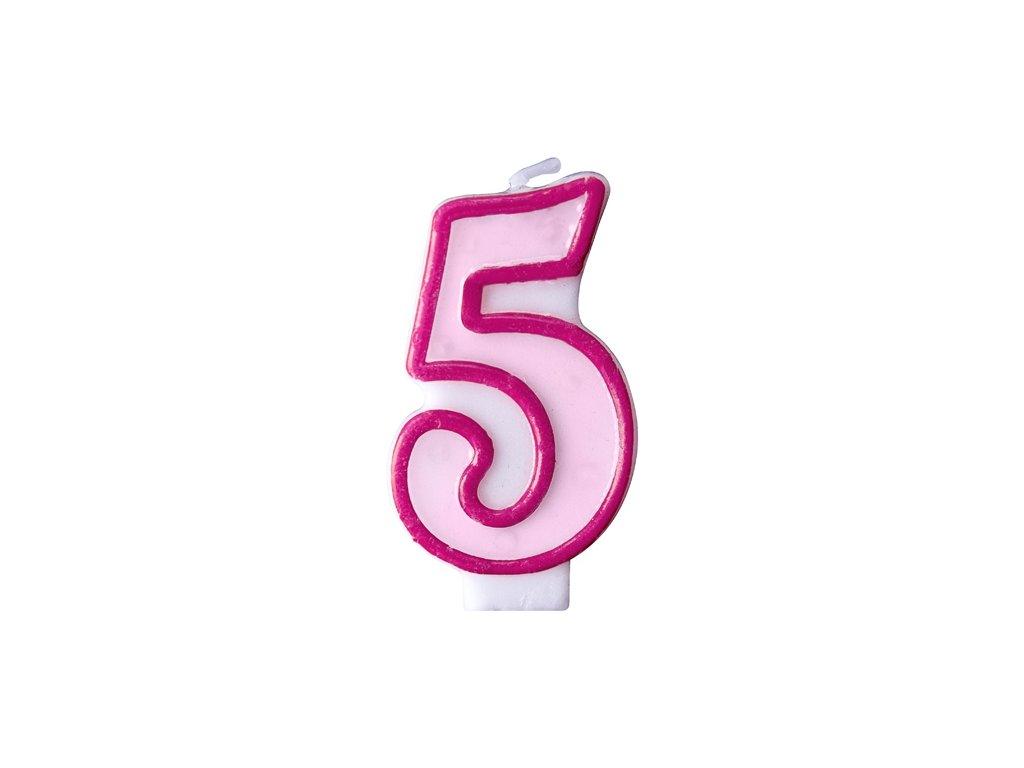 Születésnapi szám gyertya 5 - rózsaszín