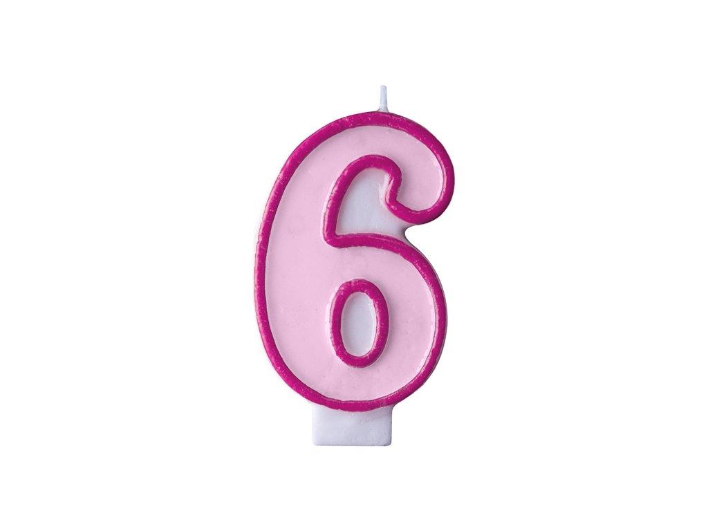 Születésnapi szám gyertya 6 - rózsaszín