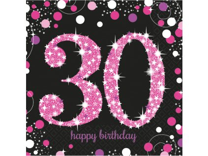 Szalvéták 30. születésnap - csillogó rózsaszín