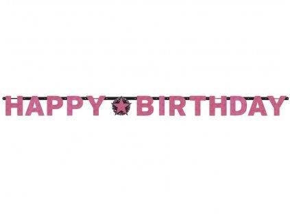 Happy birthday banner - csillogó rózsaszín