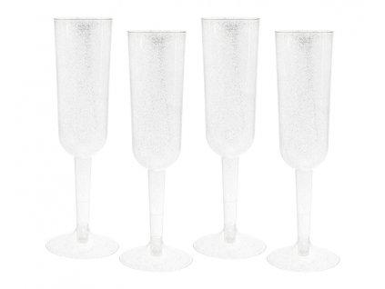 Műanyag pezsgős poharak - ezüst 4 db