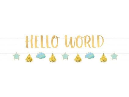 58176 banner hello world modry 176 8 x 17 8 cm
