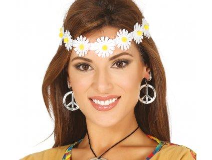 Virágos hajpánt - fehér