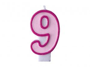 Születésnapi szám gyertya 9 - rózsaszín