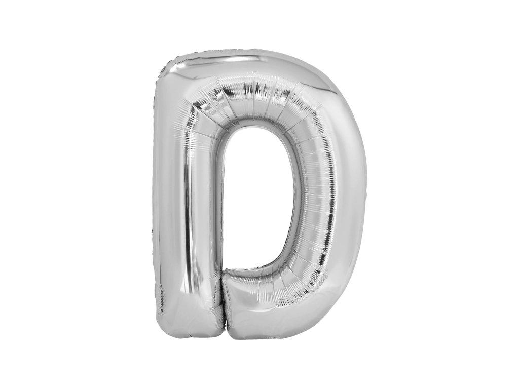 Balon din folie litera D 86 cm argintiu