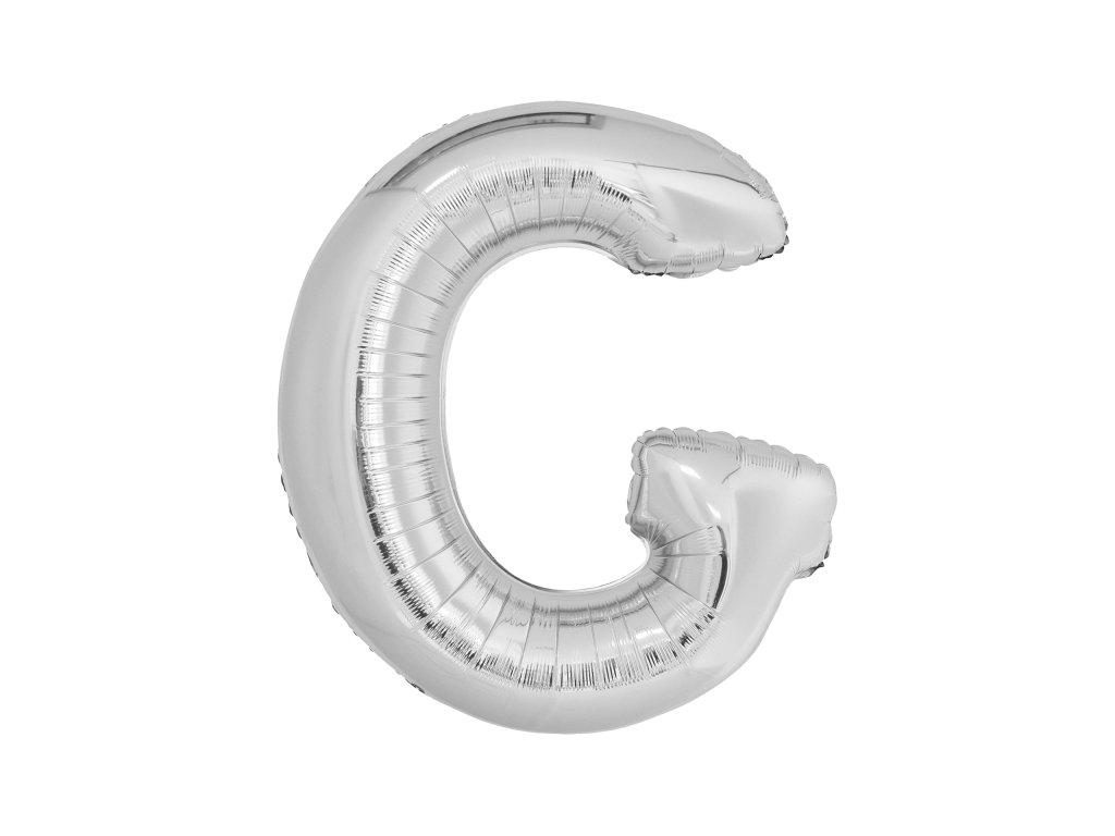 Balon din folie litera G 86 cm argintiu