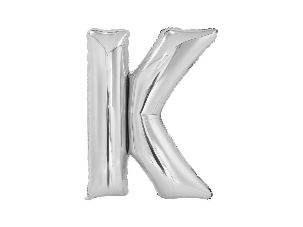 Balon din folie litera K 86 cm argintiu