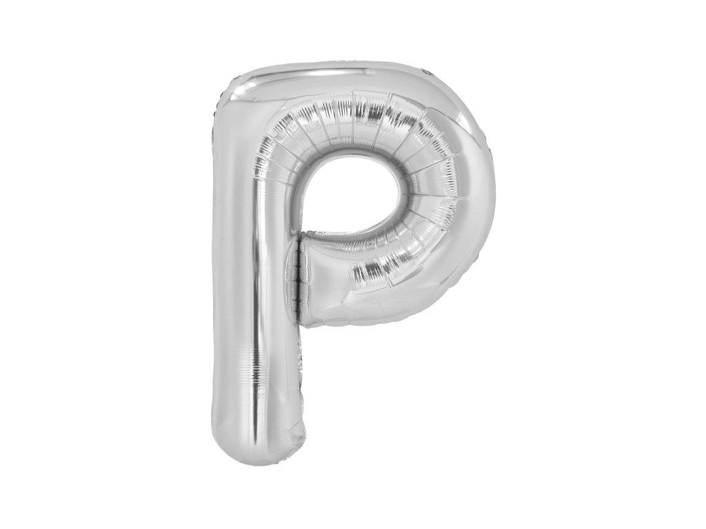 Balon din folie litera P 86 cm argintiu