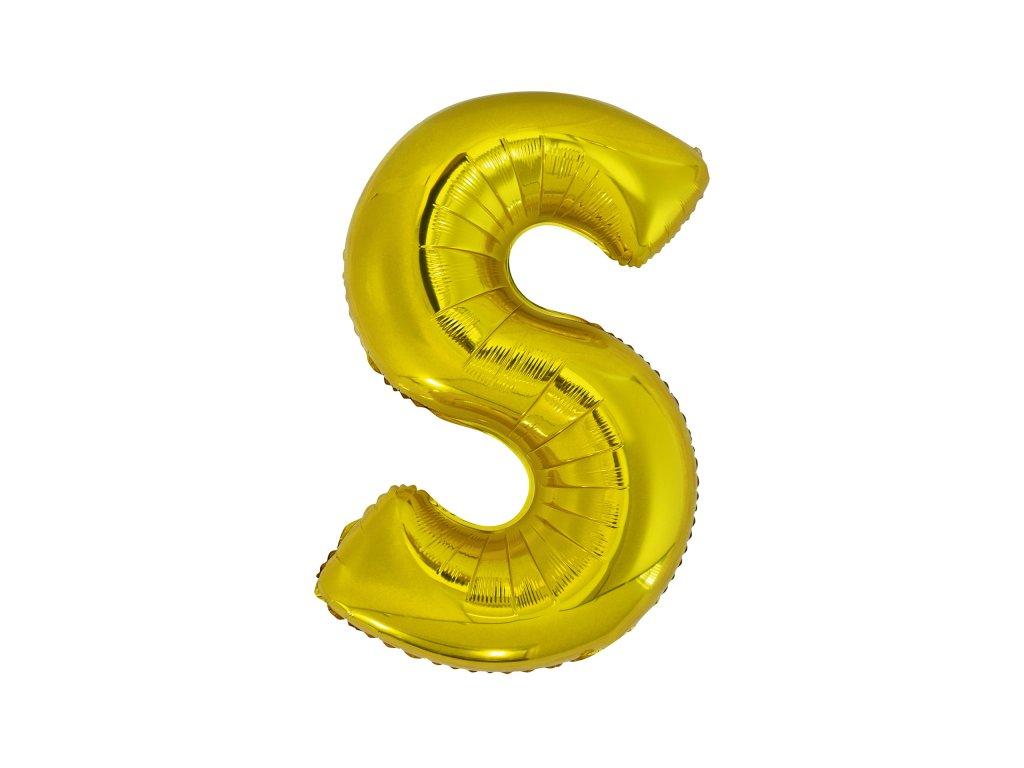 Balon din folie litera S 86 cm auriu