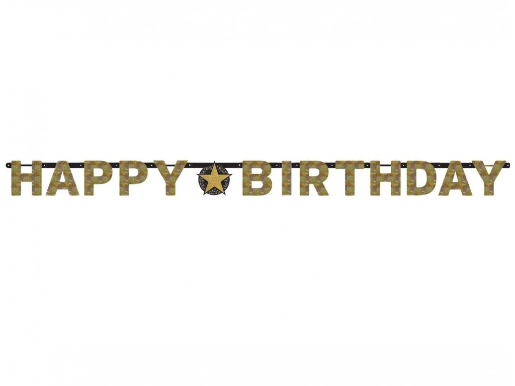 Banner Happy Birthday - auriu strălucitor