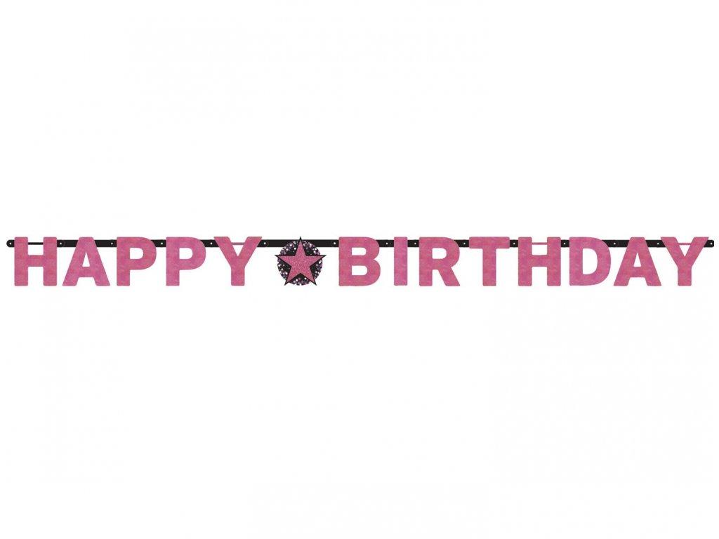 Banner Happy Birthday - Roz strălucitor