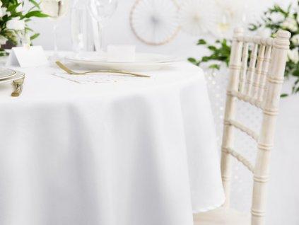 Fată de masă - albă, rotundă230 cm