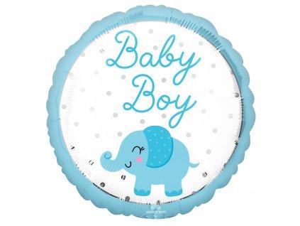 58431 foliovy balon baby boy modry slonik
