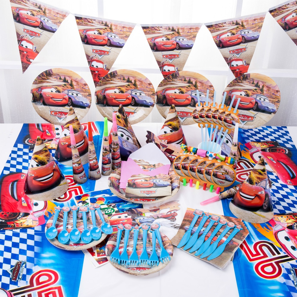 Cartoon-Disney-Lightning-McQueen-Cars-Birthday-Party-Decorations-Kids-Cups-Plates-Baby-Shower-Disposable-Tableware-Supplies