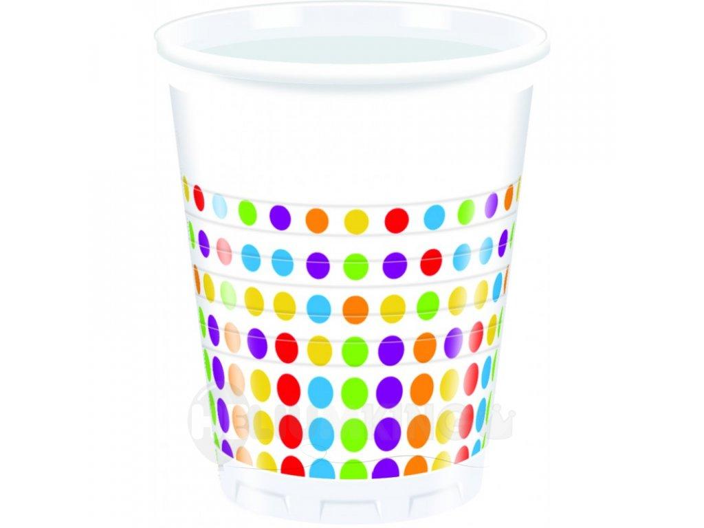 Poháre farebné bodky 8 ks