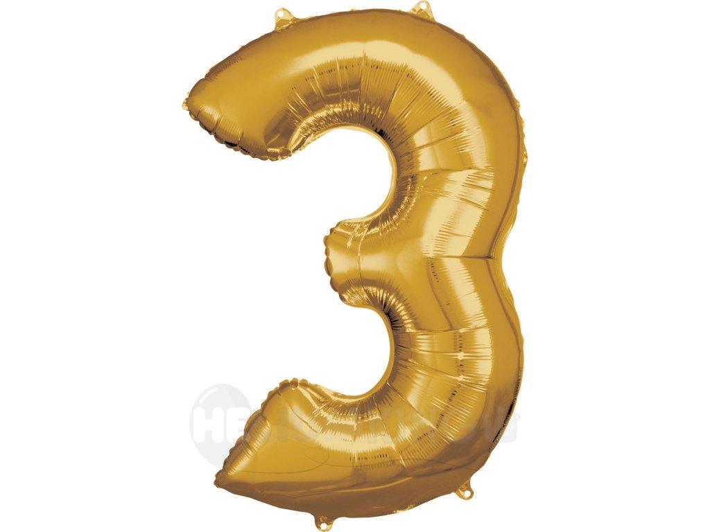 Balónik fóliový narodeninové číslo 3 zlatý 86cm