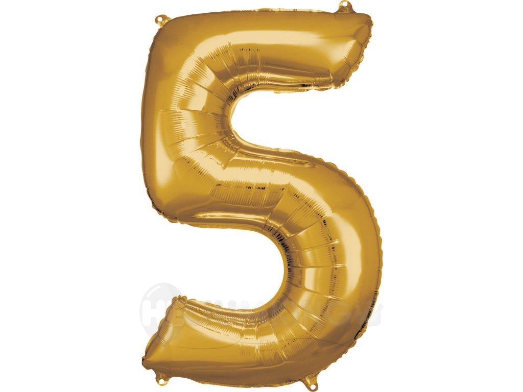 Balónik fóliový narodeninové číslo 5 zlatý 86cm