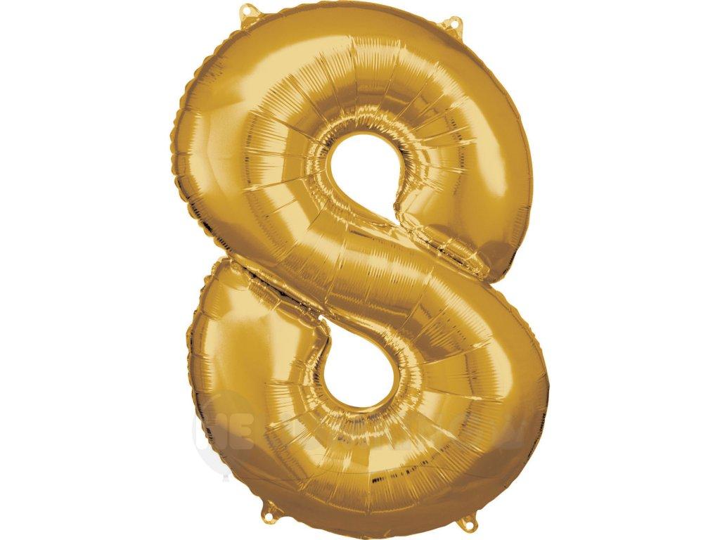 Balónik fóliový narodeninové číslo 8 zlatý 86cm
