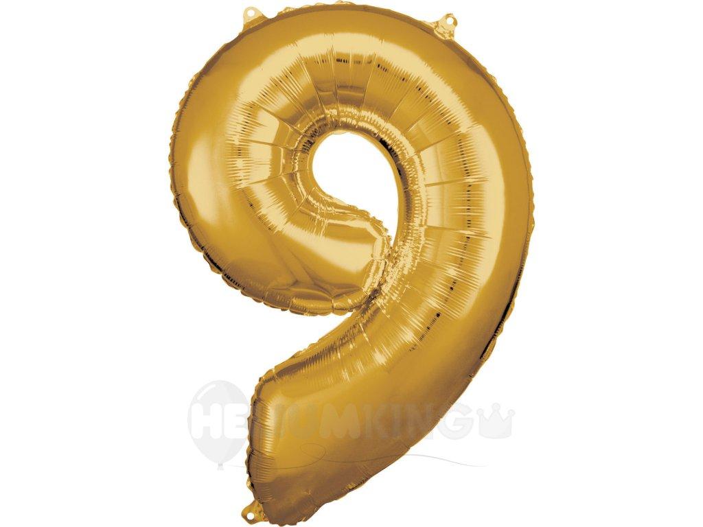 Balónik fóliový narodeninové číslo 9 zlatý 86cm