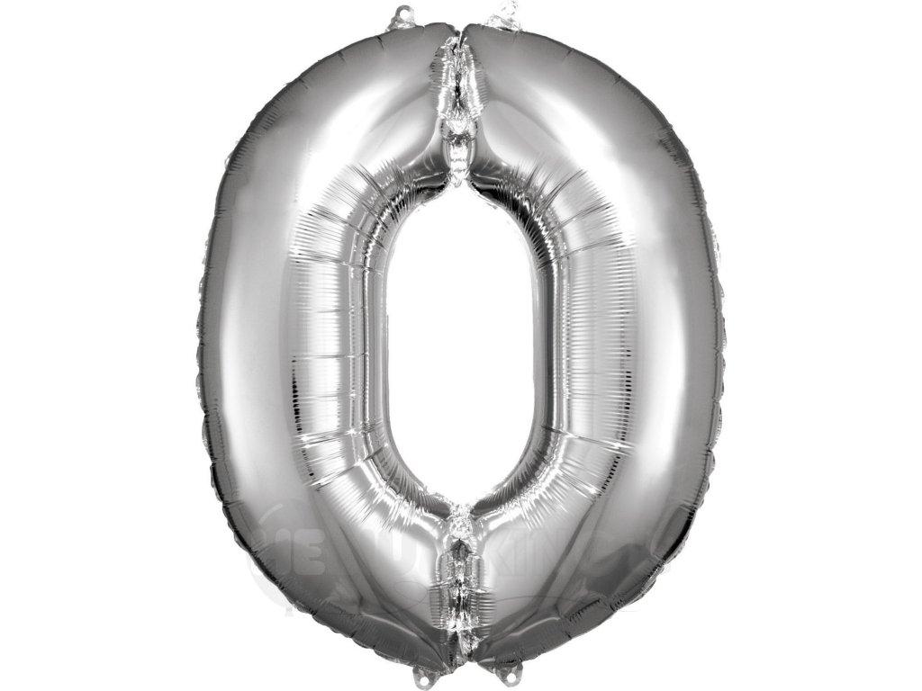 Balónik fóliový narodeninové číslo 0 strieborný 86cm