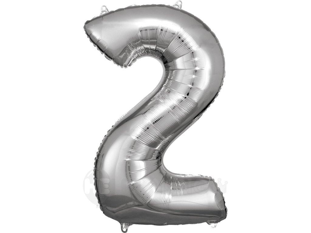 Balónik fóliový narodeninové číslo 2 strieborný 86cm