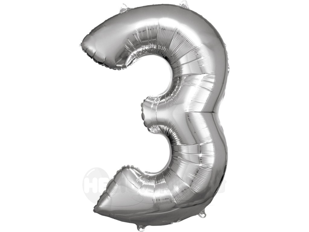 Balónik fóliový narodeninové číslo 3 strieborný 86cm