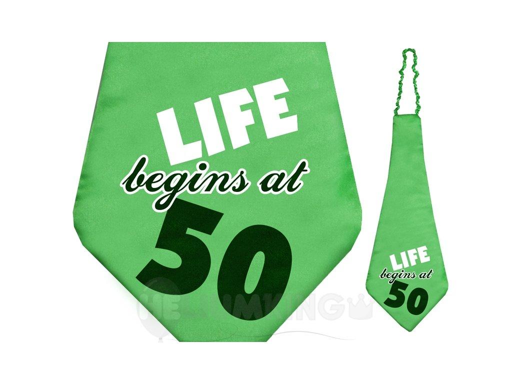 Kravata s nápisom Life begins at 50