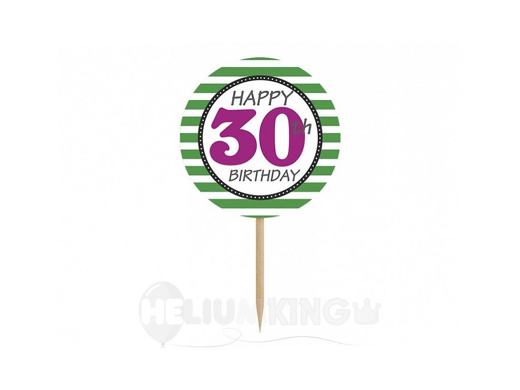 Ozdoby na cupcakes - 30. narodeniny 6 ks
