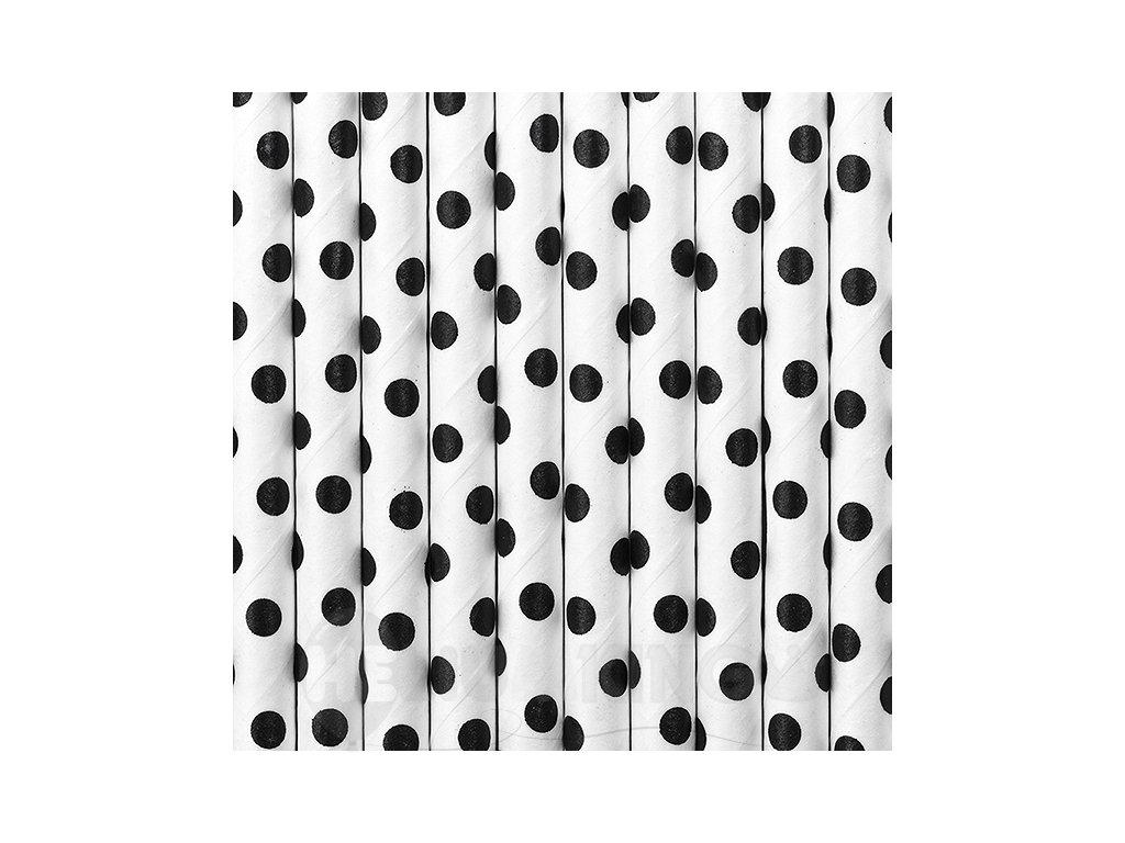 Papierové slamky bodkované biele 10 ks