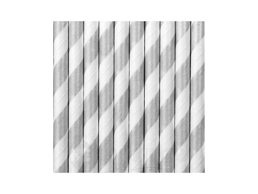 Papierové slamky strieborné 10 ks