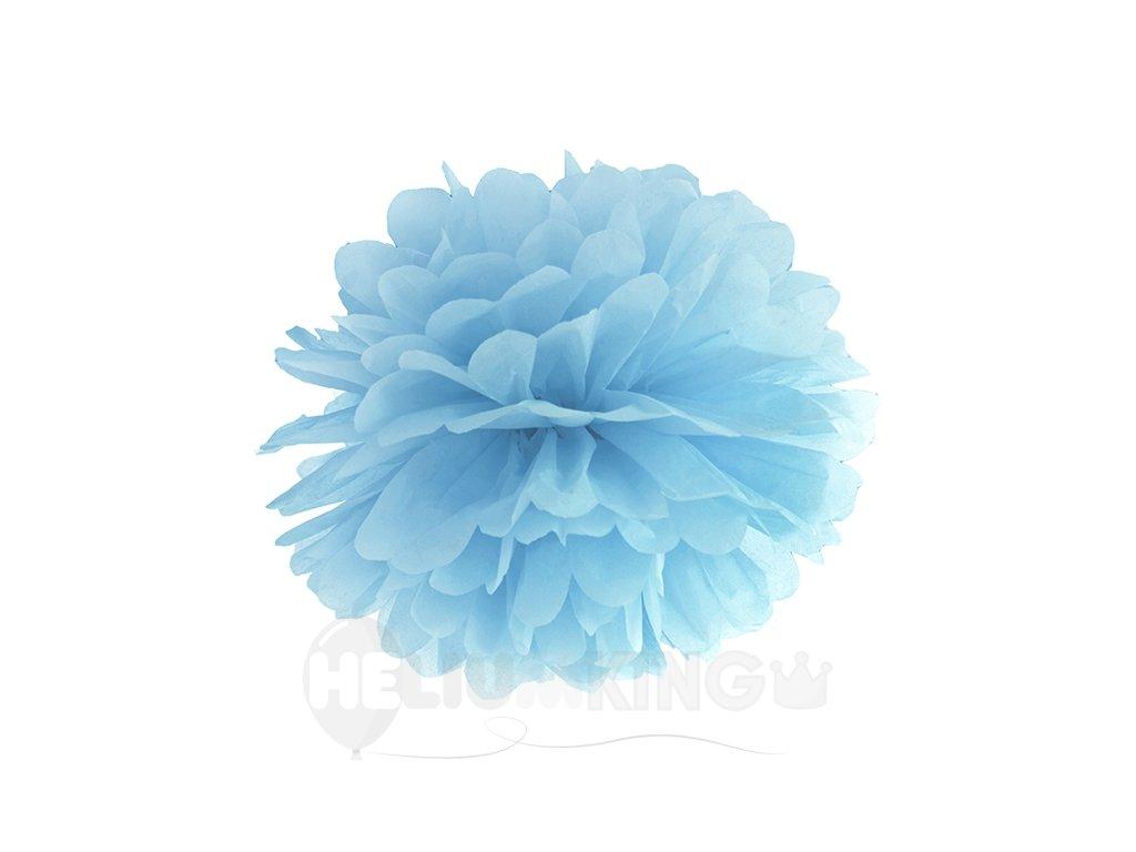 Pompom v tvare kvetu hmlistý modrý 35 cm