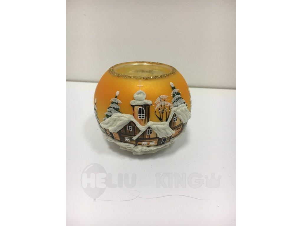 Čajovka oranžová s motívom drevenice 8 cm