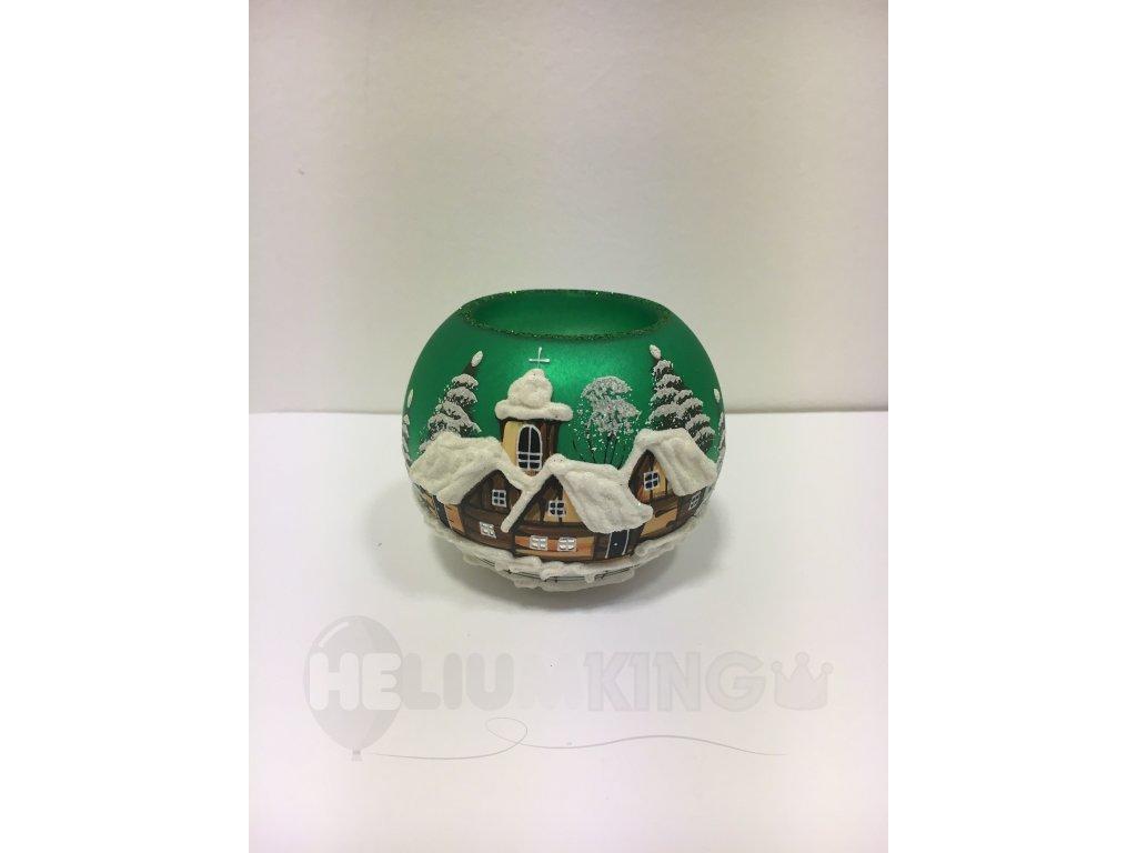 Čajovka zelená s motívom drevenice 8 cm