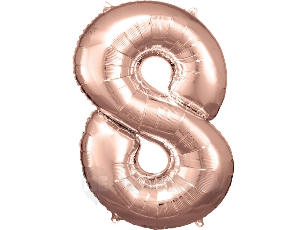 Balónik fóliový narodeninové číslo 8 ružovo-zlatý 86 cm