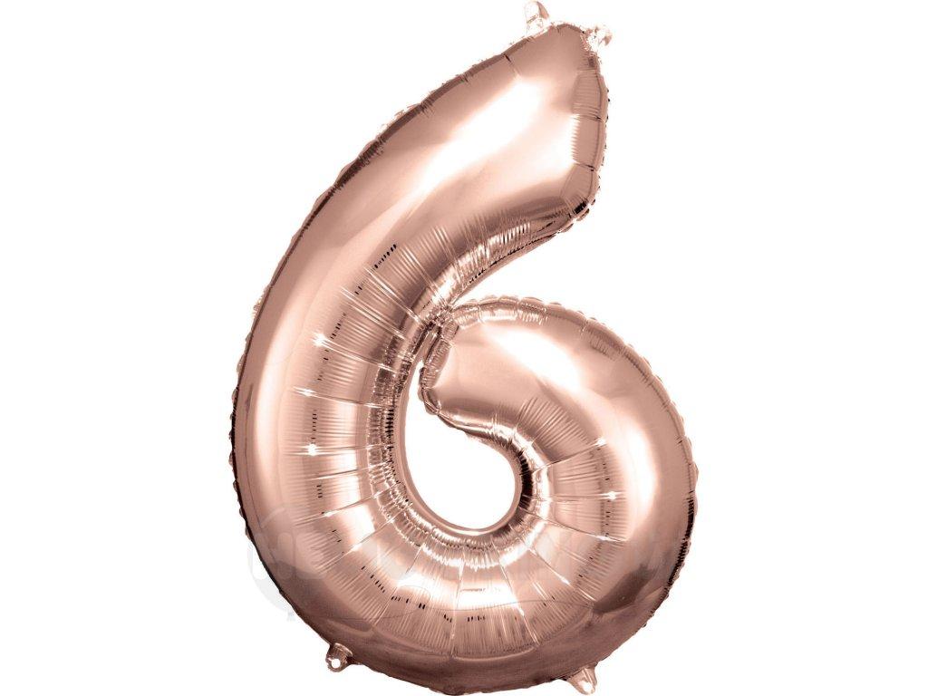Balónik fóliový narodeninové číslo 6 ružovo-zlatý 86 cm