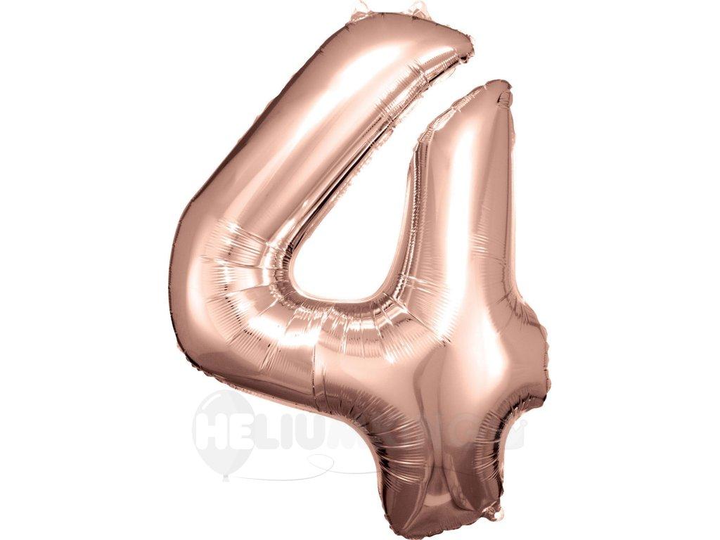 Balónik fóliový narodeninové číslo 4 ružovo-zlatý 86 cm