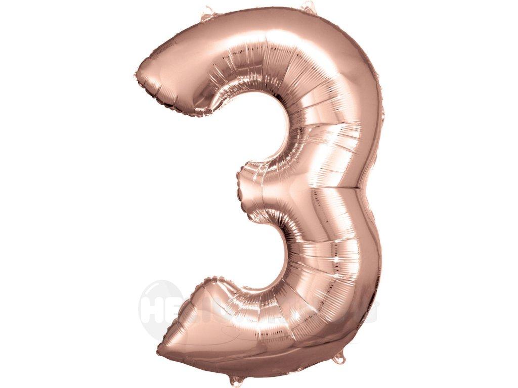 Balónik fóliový narodeninové číslo 3 ružovo-zlatý 86 cm